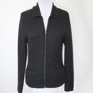 Jones NY Black Wool Cable Knit Zip Cardigan